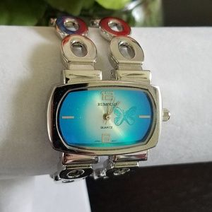 Rumours Silver & Blue Butterfly Watch